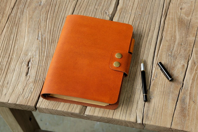 Personalized leather refillable diary cover