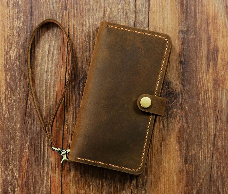 Personalized leather wristlet iPhone 7 / 7 plus wallet case