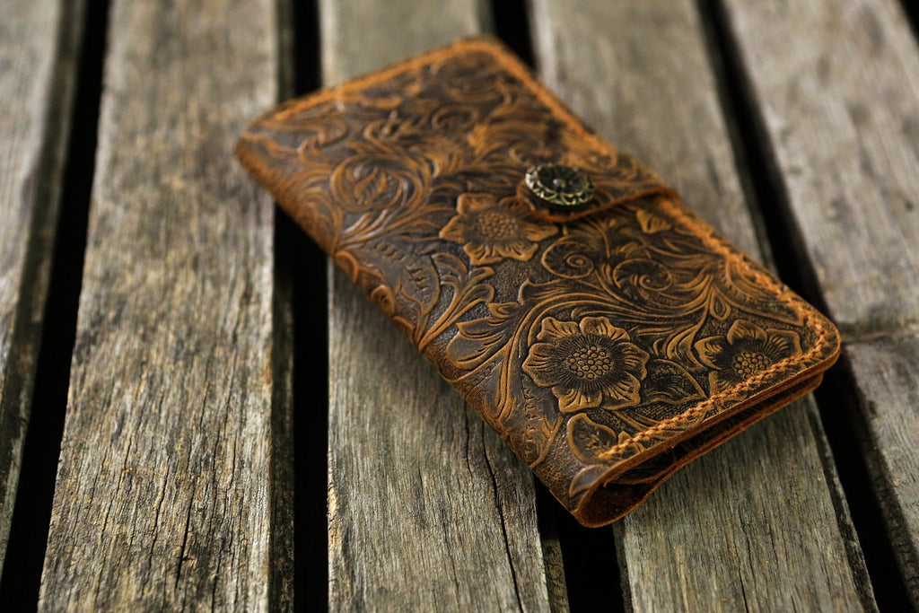 Women embossing leather iPhone 6s 6 wallet case