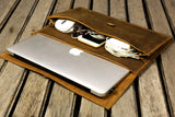 Handmade leather macbook sleeve case for 2020 macbook pro 13 15