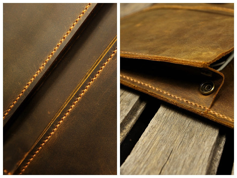 Handmade leather case sleeve for macbook laptop
