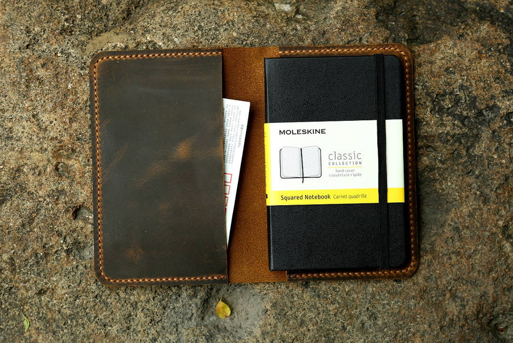 leather cover for pocket moleskine notebook