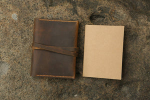 Simple A6 refillable leather journal notebook cover