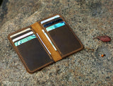 leather men slim thin bifold leather wallet