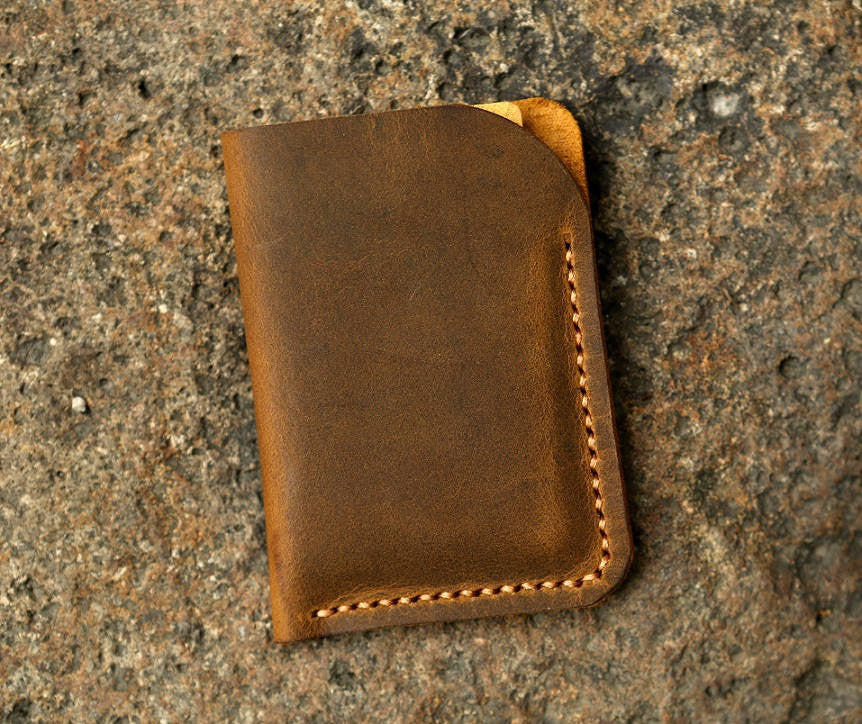 Well known Minimalist leather credit card sleeve holder business card case  BR37
