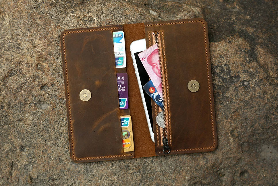 Leather men phone wallet