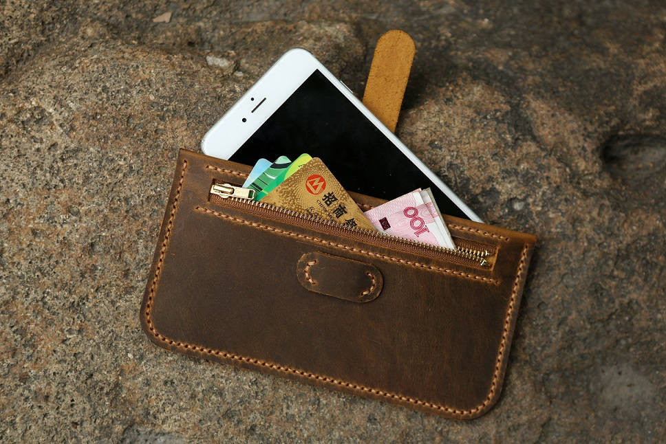 Slim leather iPhone 6 6s 7 plus phone sleeve wallet