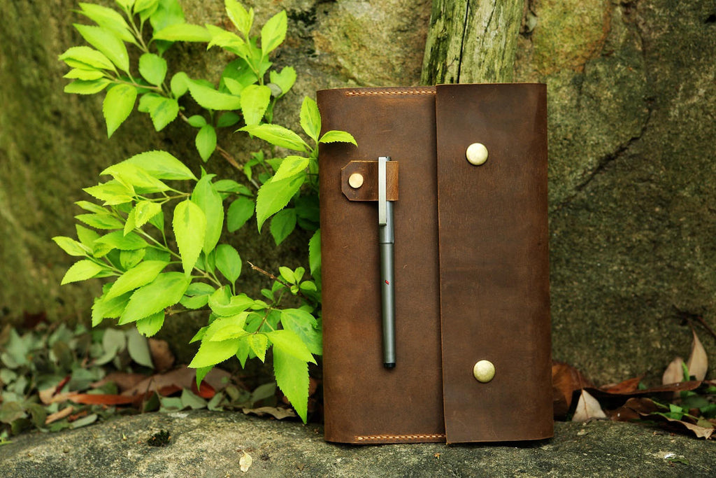 Vintage retro Leather cover for Leuchtturm 1917 Medium A5 Notebook