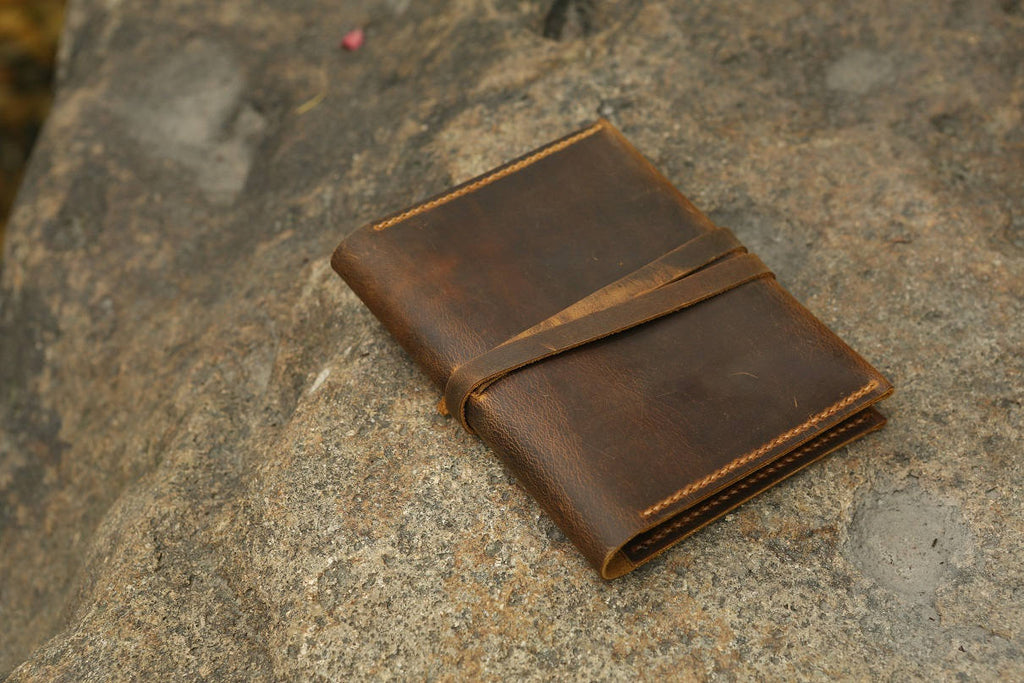 Personalized vintage retro leather case cover for A6 notebook