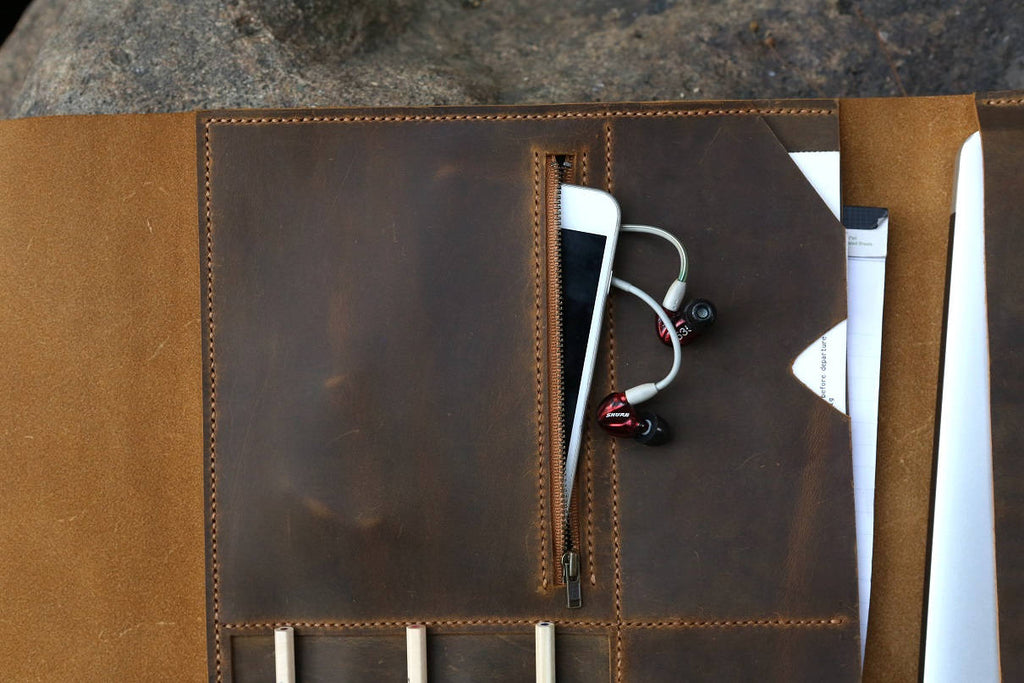Handmade leather macbook pro laptop portfolio organizer
