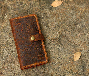 tooled leather iPhone X XS Max wallet case cover