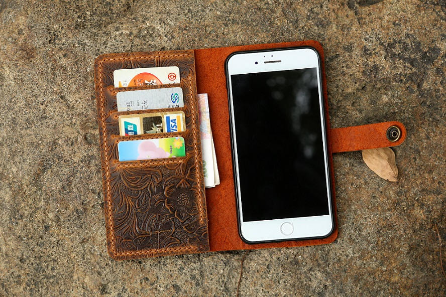 Women embossing leather iPhone 12 11 pro wallet case iPhone 12 mini mobile wallet tooled leather iPhone X XS Max wallet case cover