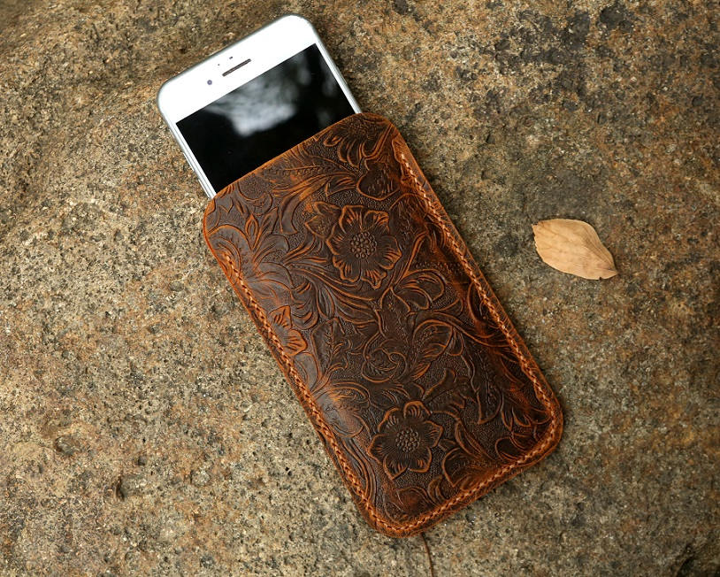 Women genuine embossing leather sleeve for iPhone 11 Pro Max / iPhone leather sleeve pouch case