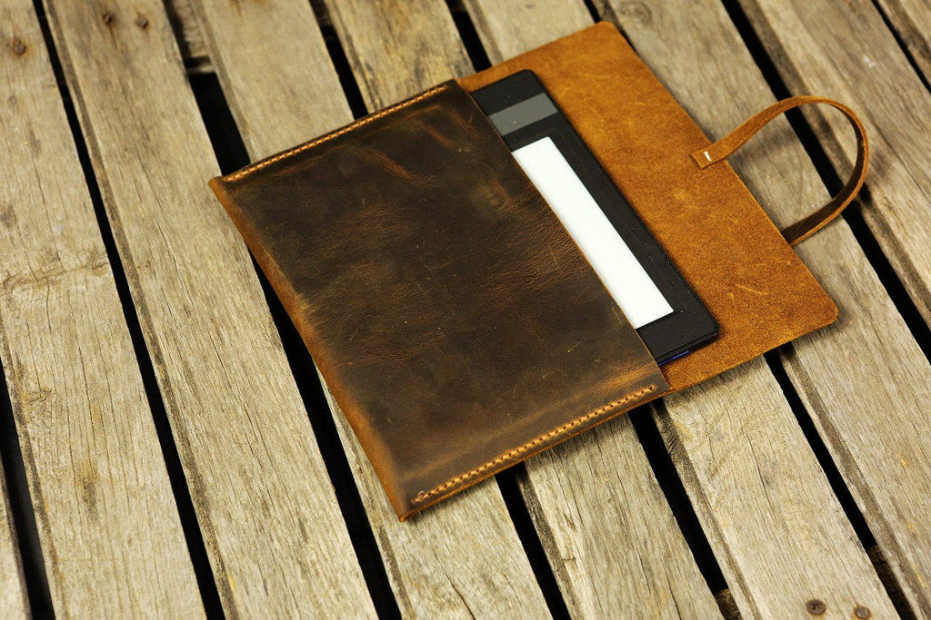 Simple retro brown leather Fire HD 8 10 cover