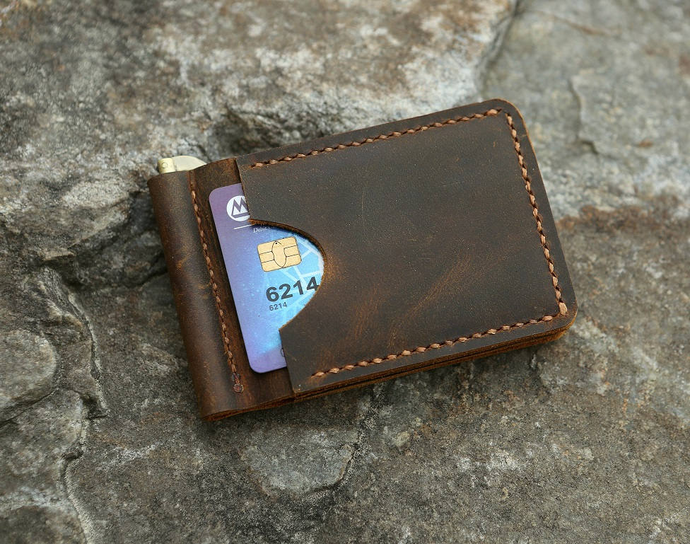 Personalized distressed leather men leather slim card money clip wallet