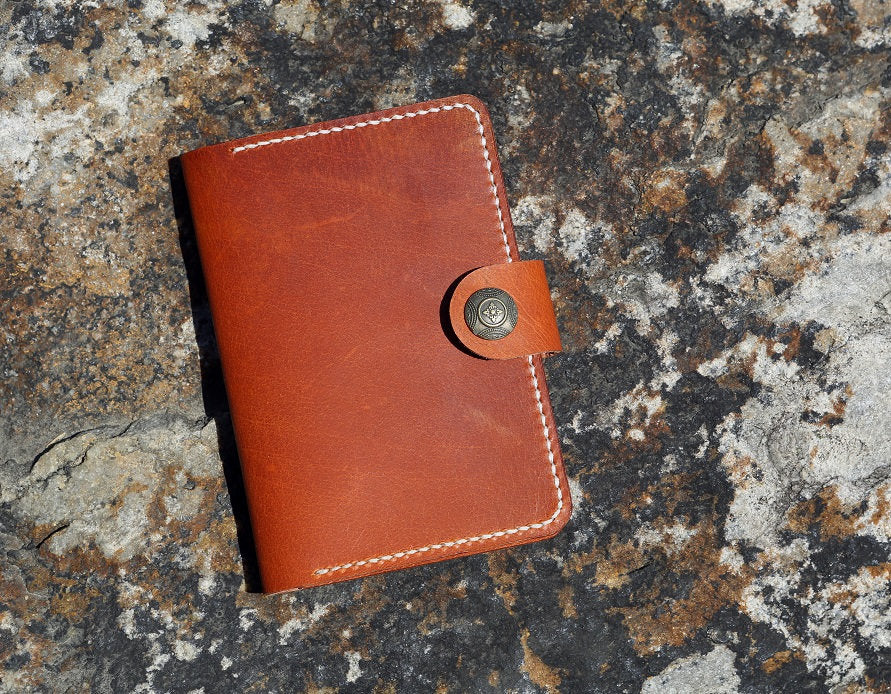 Brown vegetable tanned leather passport cover travel wallet