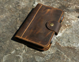 Distressed leather journal A6 ring binder travel organizer notebook