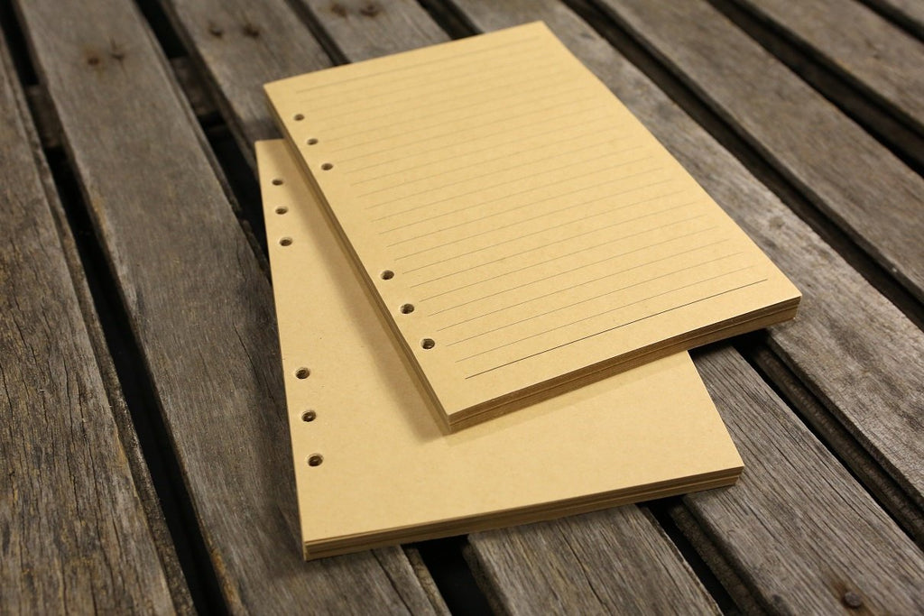 Refill kraft paper 6 hole for leather journal inserts 80 sheets (160 pages)