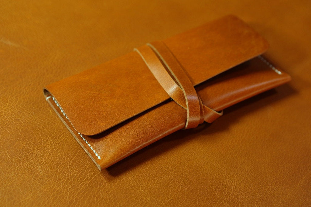 Vegetable tanned leather pencil pouch case