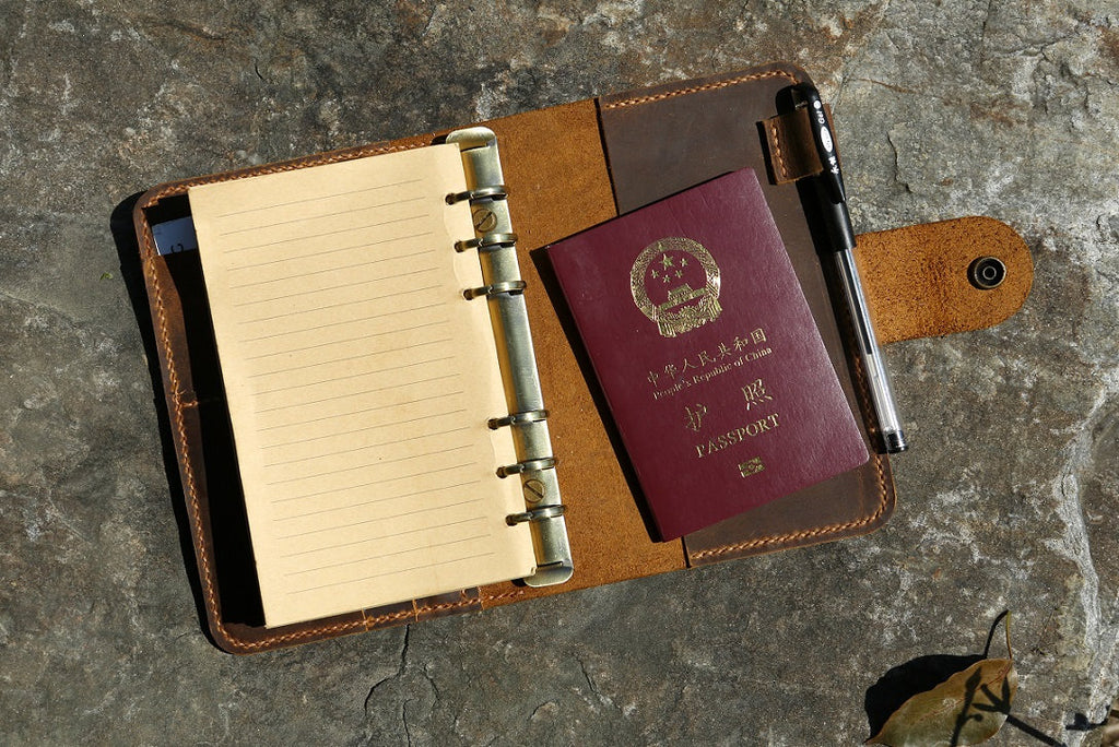 A6 leather travel notebook