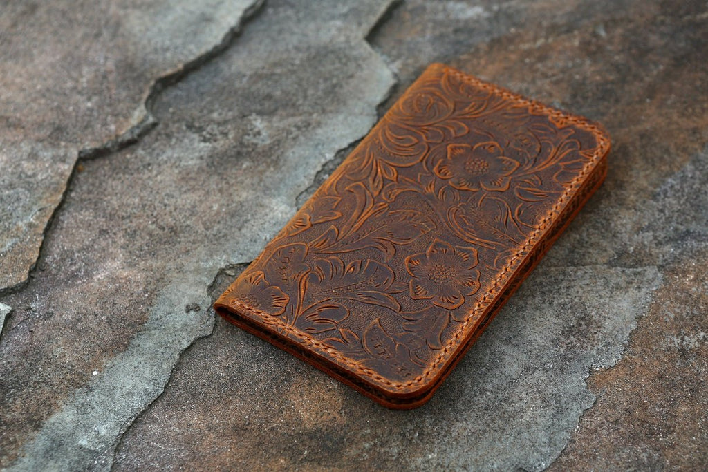 Vintage women embossing leather field notes cover 3.5 x 5.5 inch