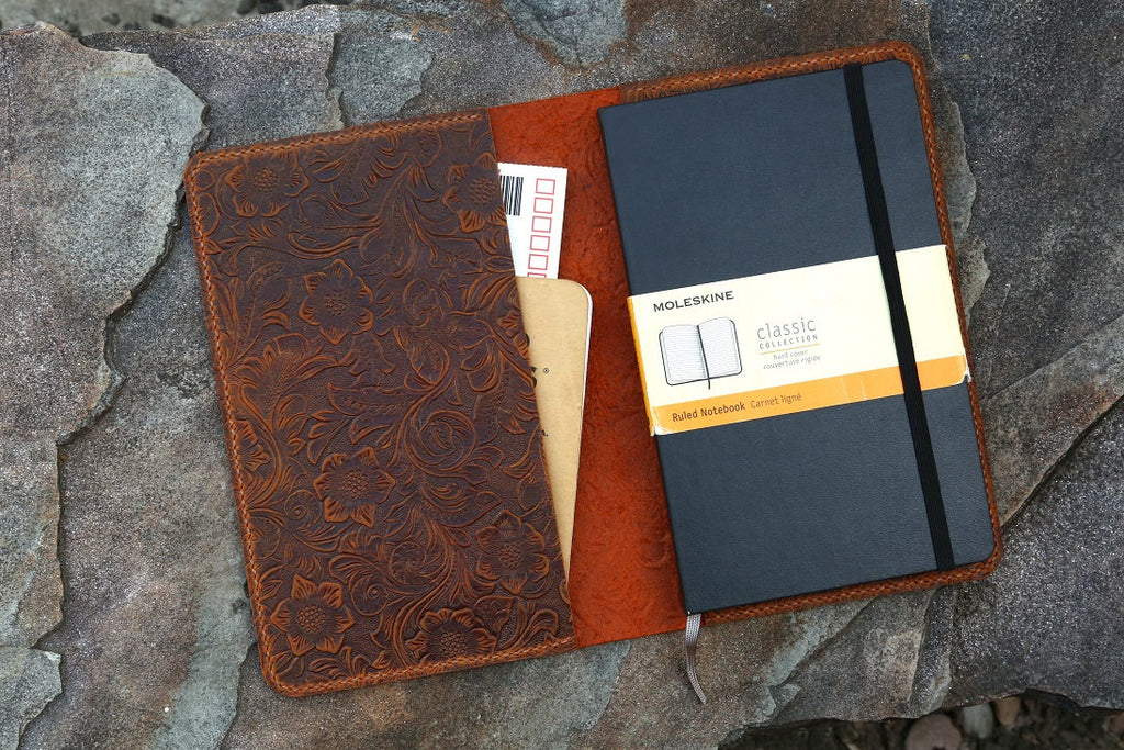 Women embossing Leather notebook cover for moleskine classic notebook large / pocket size