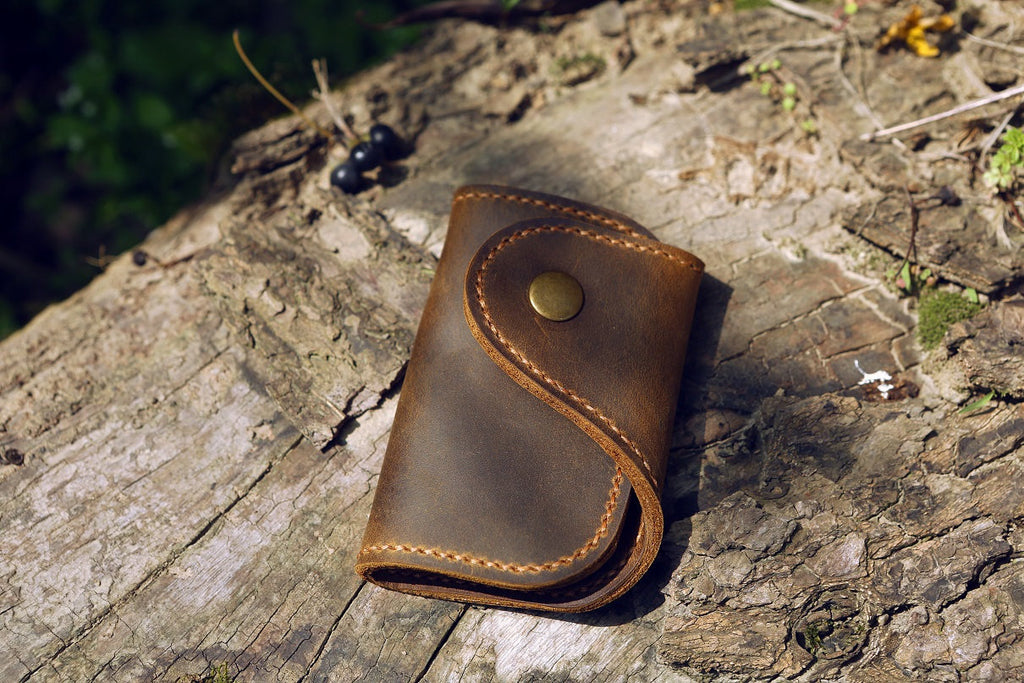 vintage distressed leather key wallet key card holder