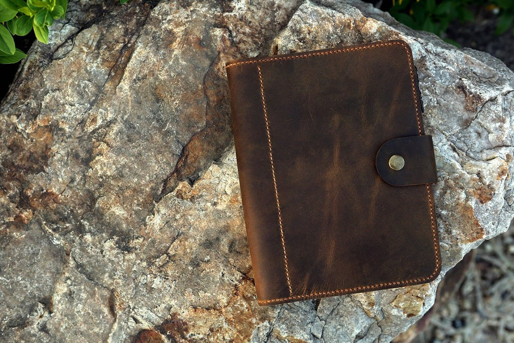 Vintage A5 leather travel journal binder , leather agenda binder