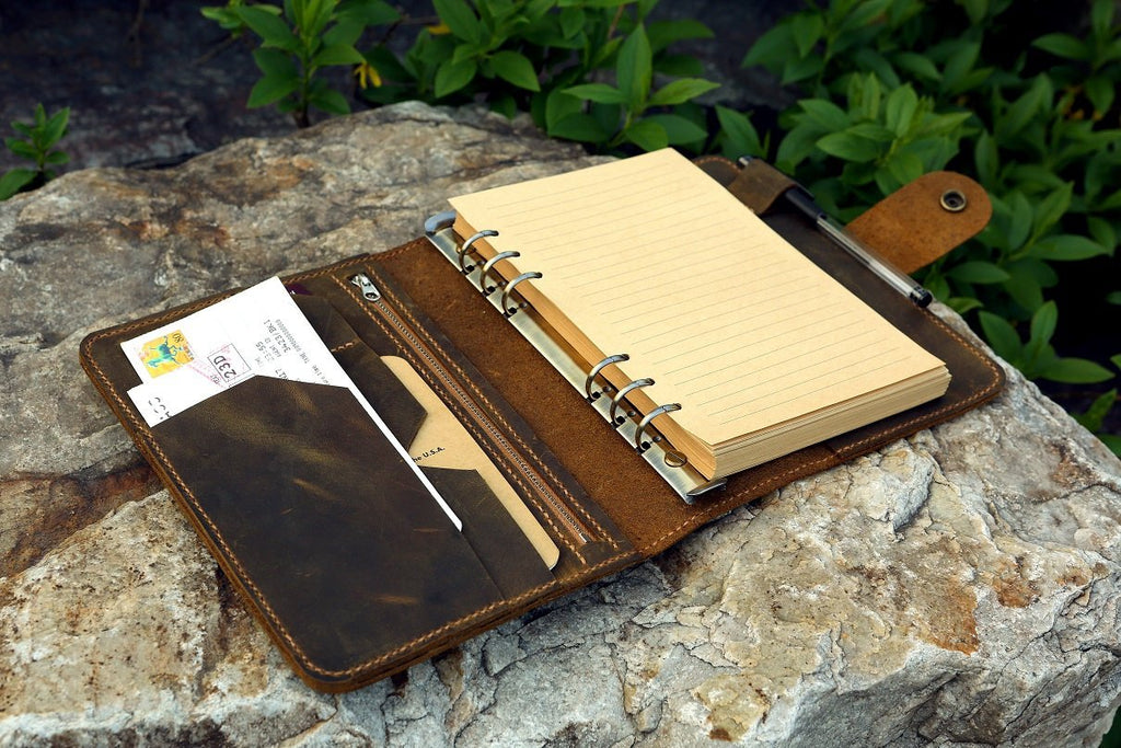 Personalized leather A5 travel refill notebook