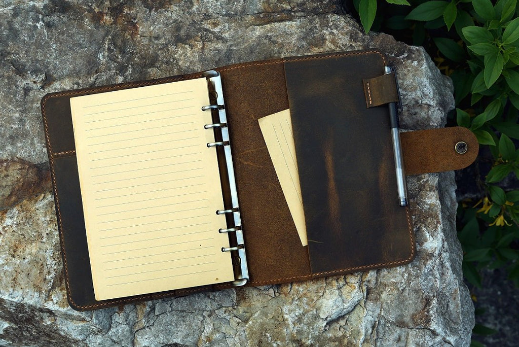 leather A5 travel binder notebook