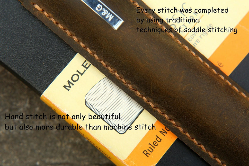 Leather pen pencil holder quiver for moleskine large notebook A5