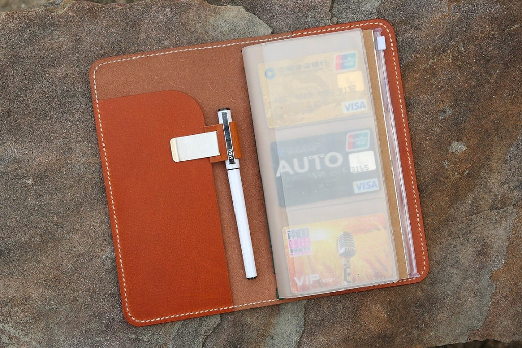 Personalized midori style real leather traveler notebook cover