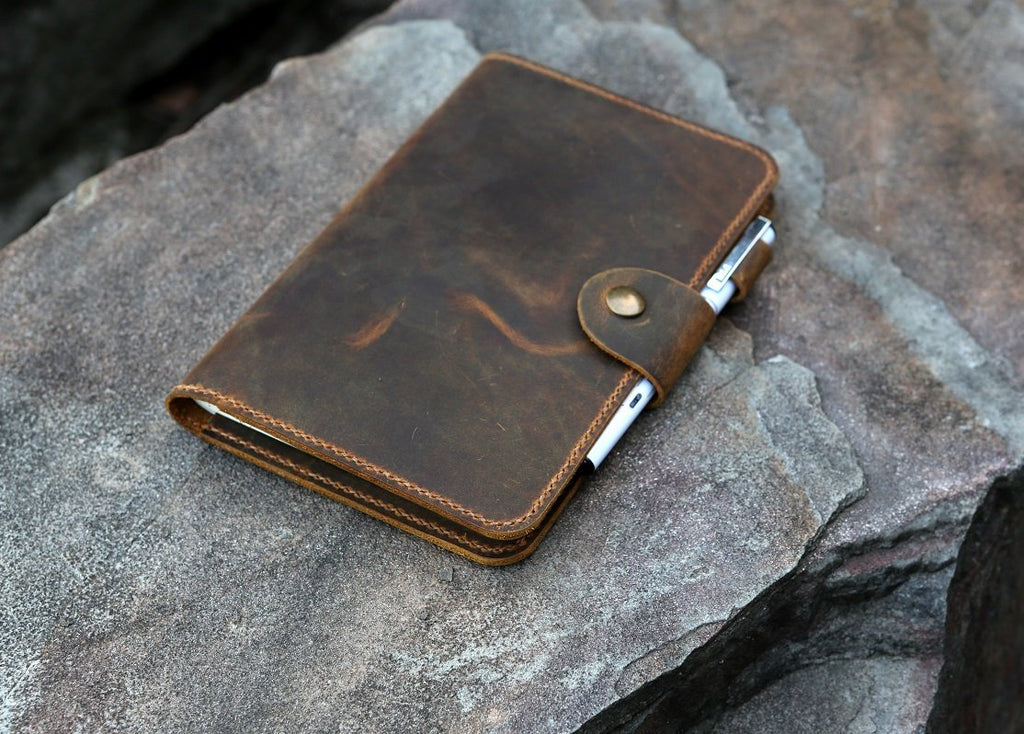 Personalized 5 x 8 inch distressed refillable leather travel journal notebook