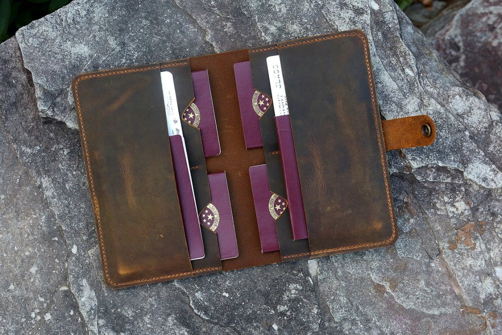 Personalized leather family 6 passport travel wallet cover case organizer