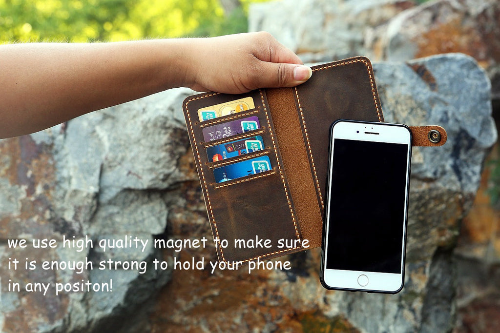 Personalized removable magnetic leather iPhone wallet for iPhone 11 Pro Max 8 plus X XR XS