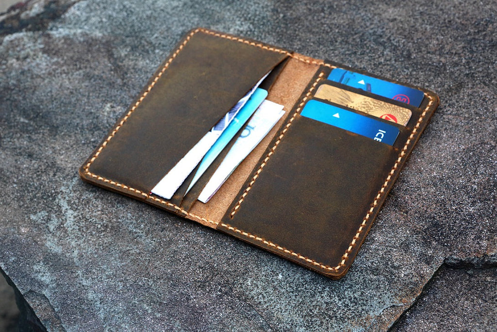Men minimalist leather card wallet