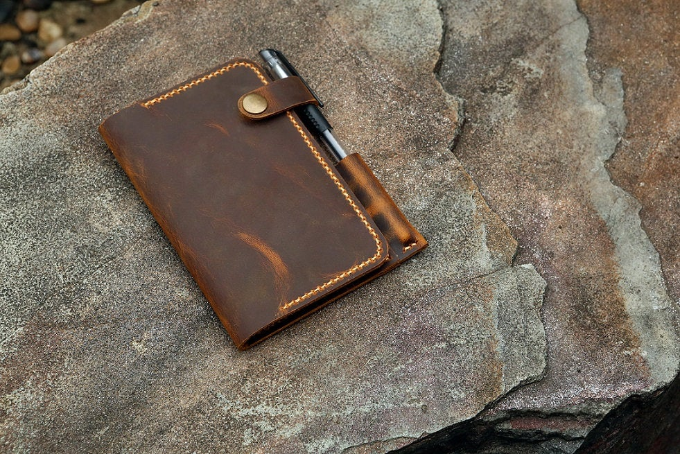 Personalized Leather field notes case wallet