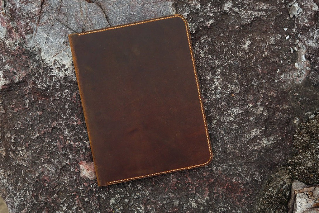 Distressed Leather large legal pad document portfolio writing case