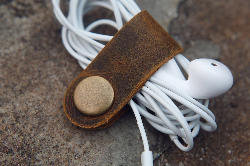 Leather cable management cord organizer charger bag