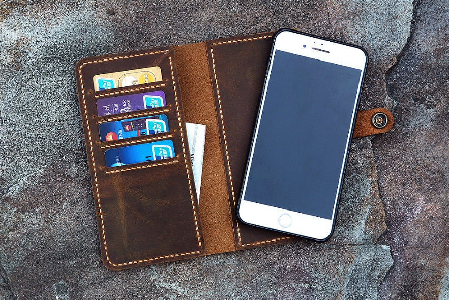 removable magnetic distressed leather iPhone wallet