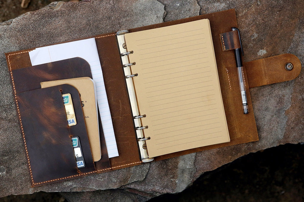 A5 leather binder notebook