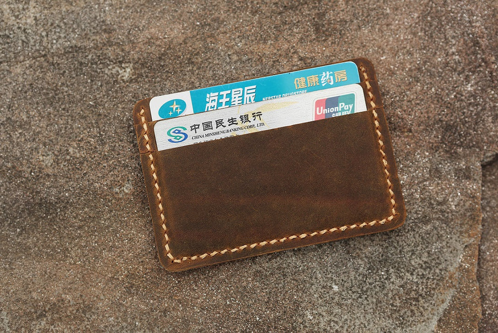 Leather front pocket slim card holder sleeve with ID window