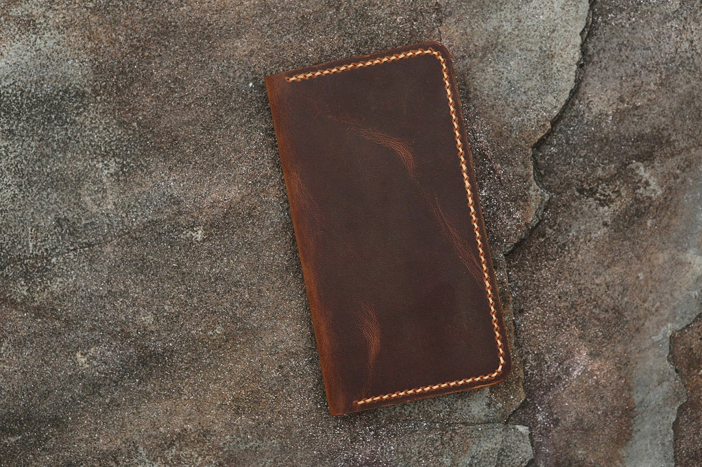 Distressed vintage brown leather iPhone 11 Pro Max wallet case