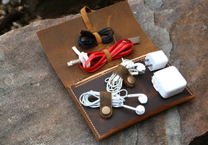 leather cable pouch