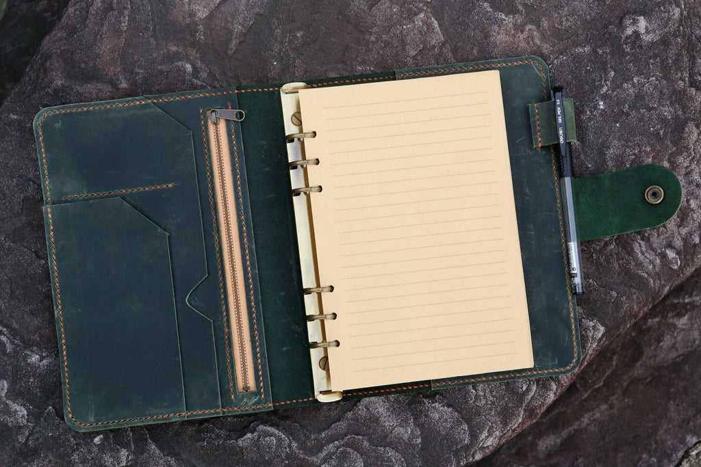 Personalized A5 green distressed leather binder