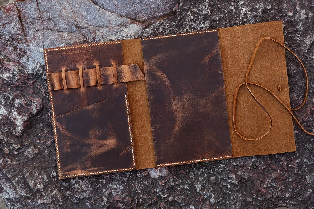 Personalized distressed  leather A5 journal travel cover