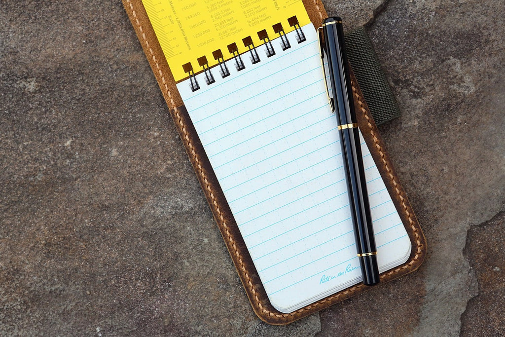 genuine leather notepad cover for rite in the rain top-spiral notebook