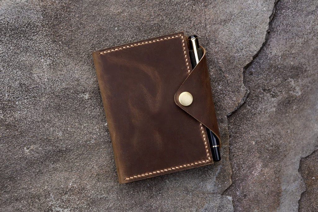 "genuine leather cover organizer for rite in the rain top-spiral notebook 3"" x 5"" 4"" x 6"""