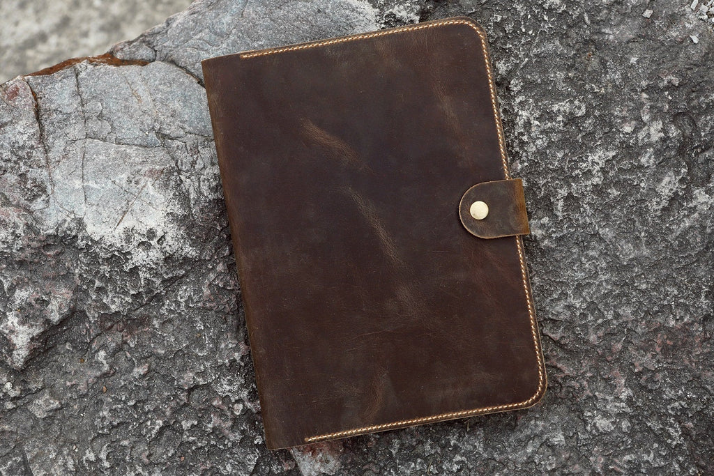 Personalized rustic real leather business portfolio