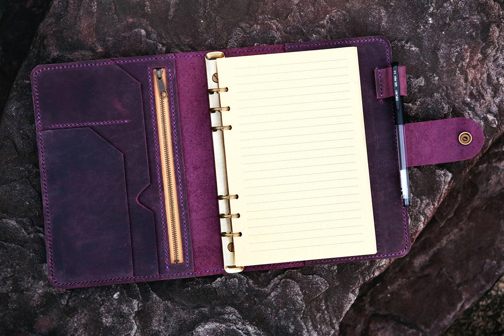 Personalized vintage purple leather notebook cover